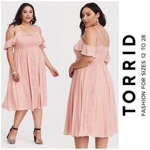 Torrid Pink Lace And Challis Midi Dress 3X